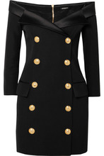 BALMAIN | Balmain - Off-the-shoulder Double-breasted Wool Mini Dress - Black | Clouty