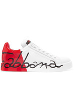 Dolce & Gabbana | Dolce & Gabbana - Logo-painted Leather Sneakers - Red | Clouty