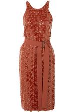 Bottega Veneta | Bottega Veneta - Belted Embellished Crepe Wrap Dress - Orange | Clouty