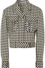 Bottega Veneta | Bottega Veneta - Eyelet-embellished Gingham Cotton And Wool-blend Jacket - Black | Clouty