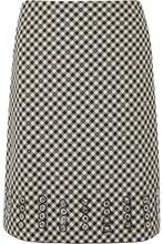 Bottega Veneta | Bottega Veneta - Eyelet-embellished Gingham Cotton And Wool-blend Skirt - Black | Clouty