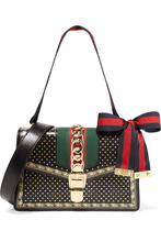 GUCCI | Gucci - Sylvie Small Chain-embellished Printed Leather Shoulder Bag - Black | Clouty