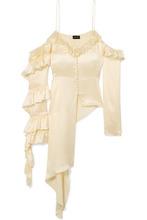 Magda Butrym | Magda Butrym - Pireus Asymmetric Ruffled Silk-satin Top - Cream | Clouty