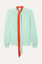 GIVENCHY | Givenchy - Pussy-bow Silk Crepe De Chine Blouse - Mint | Clouty