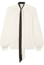 GIVENCHY | Givenchy - Pussy-bow Silk Crepe De Chine Blouse - White | Clouty