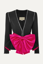 GUCCI | Gucci - Bow And Crystal-embellished Crepe Jacket - Black | Clouty