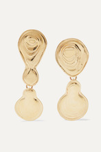 Leigh Miller | Leigh Miller - Double Drop Gold-tone Earrings - one size | Clouty
