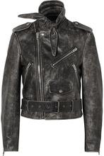 Balenciaga   Balenciaga - Scarf Distressed Leather Biker Jacket - Black   Clouty