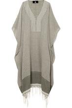 SU Paris | SU Paris - Jimba Fringed Striped Cotton-voile Kaftan - Gray green | Clouty