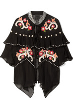 Anna Sui | Anna Sui - Poppies Ruffled Embroidered Silk-georgette Jacket - Black | Clouty