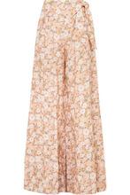 Miguelina | Miguelina - Elaina Floral-print Linen Wide-leg Pants - Peach | Clouty