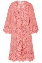 Miguelina | Miguelina - Mia Crocheted Cotton-lace Robe - Coral | Clouty