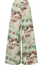 Miguelina | Miguelina - Pamela Printed Cotton-poplin Wide-leg Pants - Dark green | Clouty