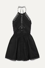 Charo Ruiz | Charo Ruiz - Crocheted Lace-paneled Cotton-blend Mini Dress - Black | Clouty