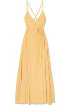 Faithfull The Brand | Faithfull The Brand - Santa Rose Tasseled Wrap-effect Voile Maxi Dress - Pastel yellow | Clouty