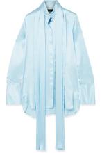 Ellery | Ellery - Oversized Pussy-bow Silk-satin Blouse - Light blue | Clouty