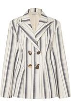 Rejina Pyo | REJINA PYO - Nicole Double-breasted Striped Cotton-chambray Blazer - Blue | Clouty