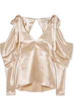 Rejina Pyo | REJINA PYO - Camille Cold-shoulder Draped Satin Blouse - Gold | Clouty