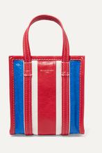 Balenciaga | Balenciaga - Bazar Xxs Striped Textured-leather Tote - one size | Clouty