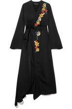 Etro | Etro - Wrap-effect Embellished Hammered-satin Dress - Black | Clouty