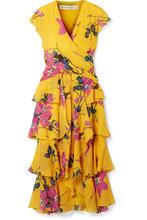 Etro | Etro - Ruffled Floral-print Silk Crepe De Chine Midi Dress - Mustard | Clouty