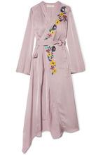 Etro | Etro - Wrap-effect Embroidered Satin Midi Dress - Lilac | Clouty