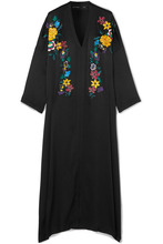 Etro | Etro - Embroidered Hammered Silk-blend Maxi Dress - Black | Clouty