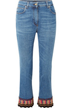 Etro | Etro - Cropped Embroidered High-rise Flared Jeans - Blue | Clouty