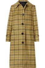Bottega Veneta | Bottega Veneta - Checked Brushed-wool Coat - Yellow | Clouty