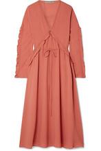 Bottega Veneta | Bottega Veneta - Ruffled Silk-georgette Midi Dress - Coral | Clouty