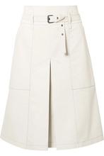 Bottega Veneta | Bottega Veneta - Belted Leather Skirt - Off-white | Clouty