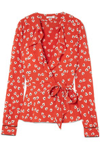 Ganni | GANNI - Ruffled Floral-print Crepe De Chine Wrap Top - Red | Clouty