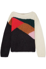 BURBERRY | Burberry - Oversized Color-block Mohair And Silk-blend Sweater - Black | Clouty