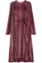 Sies Marjan | Sies Marjan - Maude Metallic Devore-velvet And Chiffon Midi Dress - Purple | Clouty