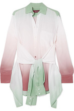 Sies Marjan | Sies Marjan - Nellie Ombre Silk Crepe De Chine Shirt - Gray green | Clouty