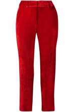 Sies Marjan | Sies Marjan - Willa Cropped Silk And Cotton-blend Corduroy Straight-leg Pants - Red | Clouty