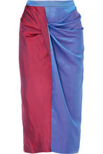 Sies Marjan | Sies Marjan - Libbie Draped Two-tone Iridescent Degrade Satin-twill Midi Skirt - Blue | Clouty