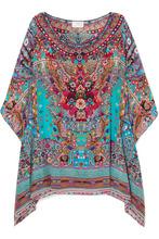 Camilla | Camilla - Embellished Printed Silk Crepe De Chine Kaftan - Turquoise | Clouty