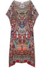 Camilla | Camilla - Embellished Printed Silk Crepe De Chine Kaftan - Red | Clouty