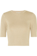 Alice + Olivia | Alice + Olivia - Ciara Metallic Wool-blend Top - Gold | Clouty