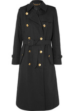GIVENCHY | Givenchy - Belted Double-breasted Cotton And Linen-blend Twill Coat - Black | Clouty