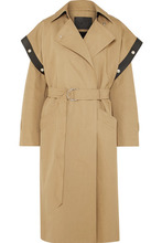 GIVENCHY | Givenchy - Belted Leather-trimmed Cotton And Linen-blend Trench Coat - Beige | Clouty
