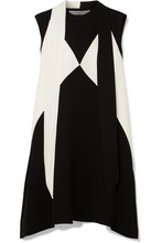 GIVENCHY | Givenchy - Oversized Pussy-bow Two-tone Crepe Mini Dress - Black | Clouty