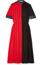 GIVENCHY | Givenchy - Leather-paneled Pleated Stretch-jersey Midi Dress - Red | Clouty