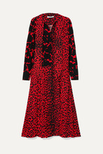 GIVENCHY | Givenchy - Pussy-bow Pleated Printed Silk Crepe De Chine Dress - Red | Clouty