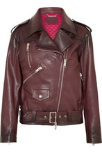 GIVENCHY | Givenchy - Oversized Textured-leather Biker Jacket - Burgundy | Clouty