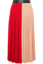 GIVENCHY | Givenchy - Color-block Pleated Stretch-jersey Midi Skirt - Red | Clouty
