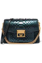 GIVENCHY | Givenchy - Gv3 Small Python Shoulder Bag - Green | Clouty