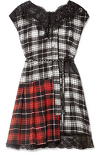 Marc Jacobs | Marc Jacobs - Lace-trimmed Plaid Silk-chiffon And Shell Mini Dress - Black | Clouty