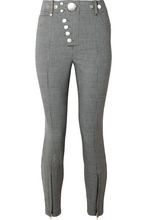 Alexander Wang   Alexander Wang - Button-embellished Houndstooth Woven Skinny Pants - Gray   Clouty